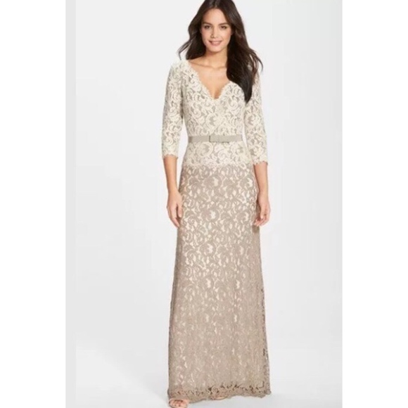 463dc379cd Tadashi shoji beige v neck lace gown